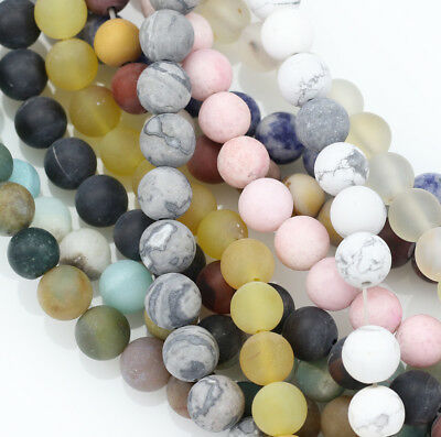 £6.79 • Buy 8mm Round Frosted Matte Semi-precious Gemstone Beads Jewellery Making -1 String