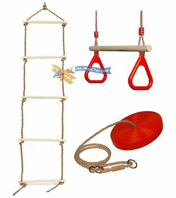 £29.99 • Buy Set Of Rope Ladder Wooden Trapeze Swing & Red Plate Seat Outdoor Garden Toy