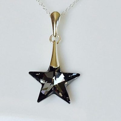 925 Silver Star Pendant Made With Swarovski® Crystals SN Necklace Jewellery Gift • 13.99£