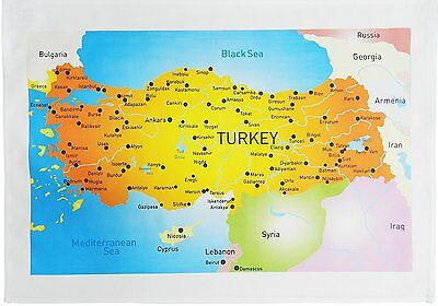 £7.99 • Buy Colourful Map Of Turkey- Large Cotton Tea Towel By Half A Donkey