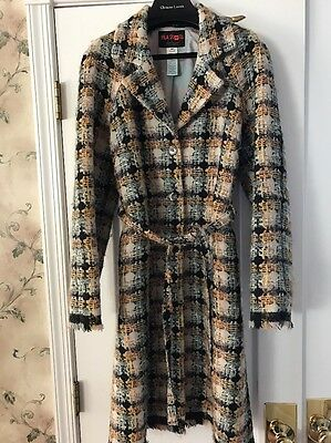 £290.97 • Buy Bazar Christian Lacroix Lightweight Wool Plaid Coat Belted Size 42