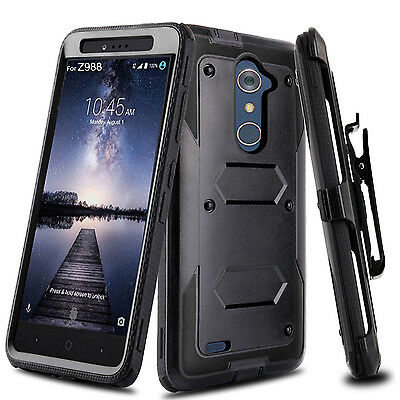 $8.87 • Buy For ZTE Zmax Pro / Blade X Max Shockproof Hybrid Kickstand Clip Phone Case Cover