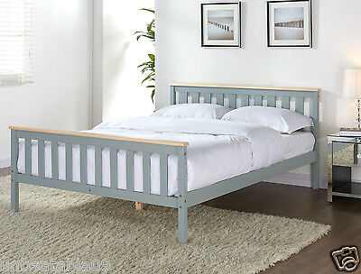 Grey Wooden Bed Frame Pine Double King Single Size Solid Pine And With Mattress • 99.99£