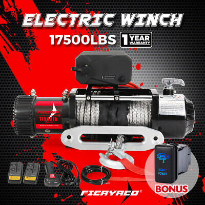 AU539.95 • Buy 17500LBS Wireless 12V Electric Winch Synthetic Rope 4WD Recovery 4X4 W/ Switch