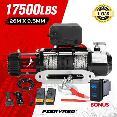 AU499.95 • Buy FIERYRED 17500LBS Wireless 12V Electric Winch Synthetic Rope 4WD Recovery 4X4