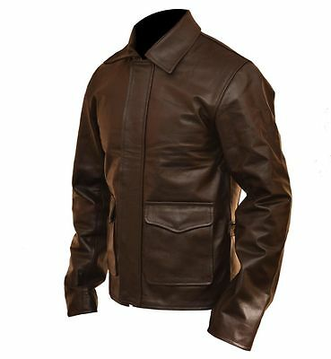 £110.78 • Buy Indiana Jones Harrison Ford Classic Genuine Brown Cow Hide Real Leather Jacket