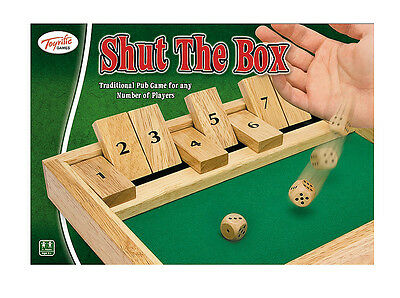 £4.99 • Buy Shut The Box Traditional Family Wooden Board Dice Game A Fun Gift By Toyrific