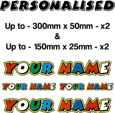 XL PERSONALISED Stickers Valentino Rossi Fumi, 46, Customised With Your Name X4 • 12.99£
