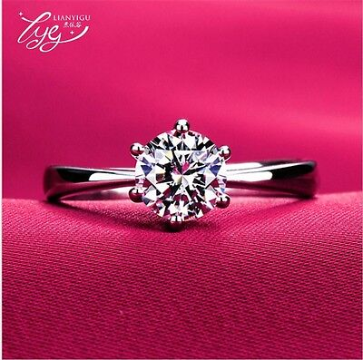 £3.49 • Buy 925 Sterling Silver Plated Diamond Engagement Ring Women Beautiful Gift