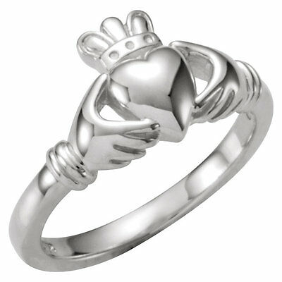 $174.98 • Buy 10k White Gold Diamond Claddagh Irish Ring Wedding NEW IN BOX