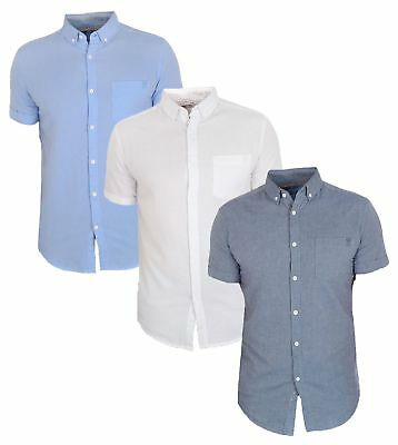 Mens Cotton Short Sleeve Oxford Shirt Buttoned Casual Top Pastel Soul Star  • 13.99£