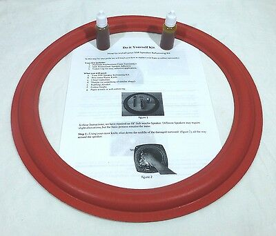 $21.99 • Buy (2)Two New 15  Speaker Foam Surrounds (Cerwin Vega Red) With Instructions & Glue