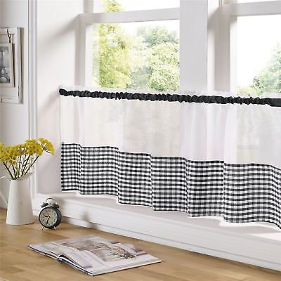 Black And White Gingham 59  X 18  – 150cm X 45cm Kitchen Cafe Curtain Panel • 6.99£