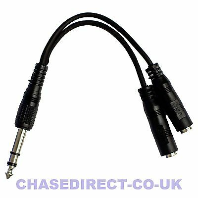 Kinsman LPYC01 Headphone Adpater Splitter 1/4  Jack To 2x 1/8  Sockets Stereo • 3.99£