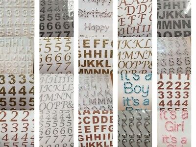 Number And Letter Stickers  Self Adhesive Gold Silver Rose Pearl Diamante  • 2.35£