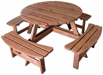 Pressure Treated 8 Seater Round Pub Bench Outdoor Garden/Picnic Table • 199.99£