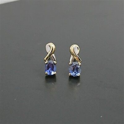 AU288.93 • Buy 9ct Yellow Gold Stud Earrings With Natural Sapphires And White Gold Highlights