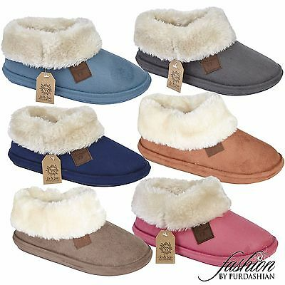 £12.97 • Buy Ladies Slipper Boots Suede Fur Lined Winter Warm Thermal Ankle Bootie Shoes