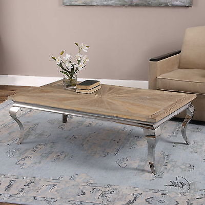 $1160 • Buy 53  W Rhode Coffee Table Solid Reclaimed Elm Wood Light Gray Finish Hand Made