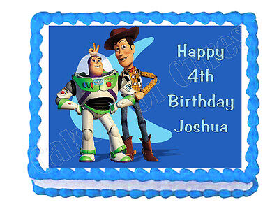 £6.51 • Buy Buzz Lightyear And Woody Toy Story Edible Cake Topper Frosting Sheet Decoration