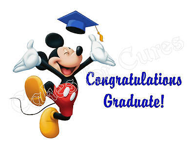Mickey Mouse Graduation Edible Cake Image Cake Topper Party Decoration • 6.71£