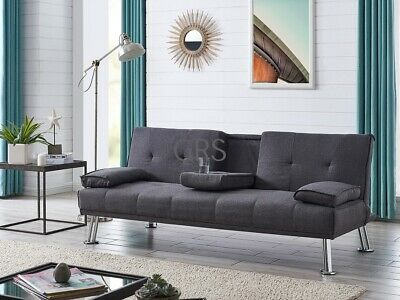 Fabric Sofa Bed Cupholder 3 Seater Chrome Legs Velvet Or Fabric • 159.99£
