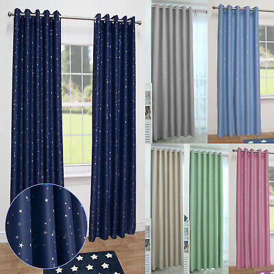 Stars Kids Thermal Blackout Ready Made Eyelet Curtains - Dimout Energy Saving  • 18£
