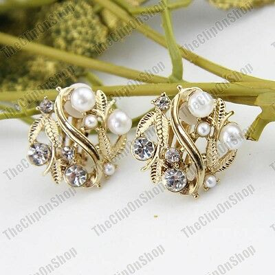 £3.88 • Buy CLIP ON Earrings PEARL CRYSTAL Gold Fashion CLIPS Retro Vintage Style Rhinestone