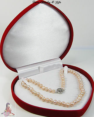 $15.99 • Buy New Velvet Jewelry Store Style XL Necklace Pearl Red Heart Gift Box