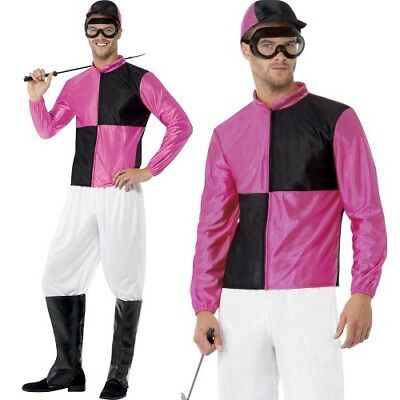 Mens Jockey Fancy Dress Costume Horse Racing Outfit Pink/Black By Smiffys New. • 34.99£