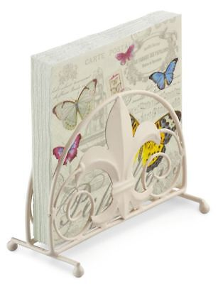 French Butterfly Pink 20 X 3 Ply Paper Napkins & Fleur De Lys Napkin Holder Set • 12.95£