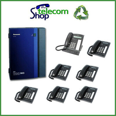 Pana KX-TDA30 Telephone System ISDN & 7 Phones W/O Side Cover • 249£
