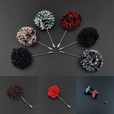 Lapel Flower Camellia Handmade Boutonniere Stick Brooch Pin Men's Grooms Wedding • 1.99£