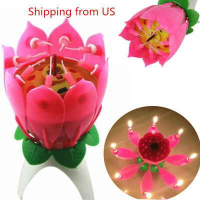 $ CDN6.98 • Buy Musical Candle Lotus Flower Rotating Candles Light Happy Birthday Party Gift US