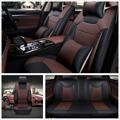 $ CDN225.95 • Buy 5-Seats Car Seat Cover Front+Rear Microfiber Leather Cushion W/Pillow All Season