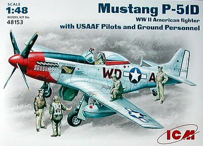 ICM 1/48 P-51D Mustang With USAAF Pilots And Ground Personnel # 48153 • 16.32£