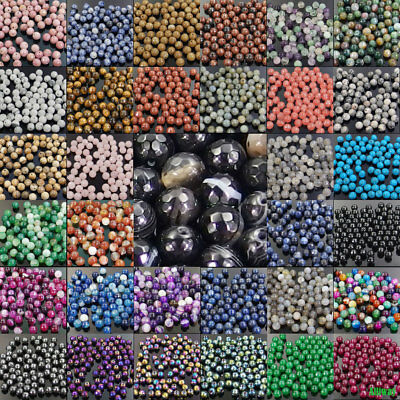 $ CDN1.60 • Buy Series IV Natural Gemstone Spacer Beads 4mm 6mm 8mm 10mm Faceted Round Stone DIY