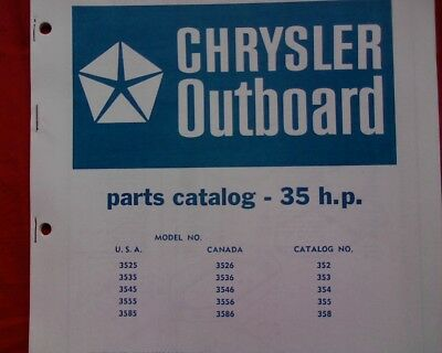 AU18.95 • Buy 1968 - 73 Chrysler 35 Hp. Outboard Motor Spare Parts Manual Service Book