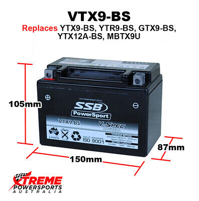 AU94.95 • Buy SSB 12V 260CCA 10AH VTX9-BS Triumph 750 Trident 1991-1997 AGM Battery YTX9-BS