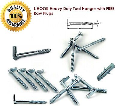 L HOOK Heavy Duty Tool Hanger With FREE Raw Plugs Free And Fast Postage • 3.99£