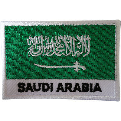 £2.79 • Buy Saudi Arabia Flag Patch Iron Sew On Arabic Embroidered Badge Embroidery Applique