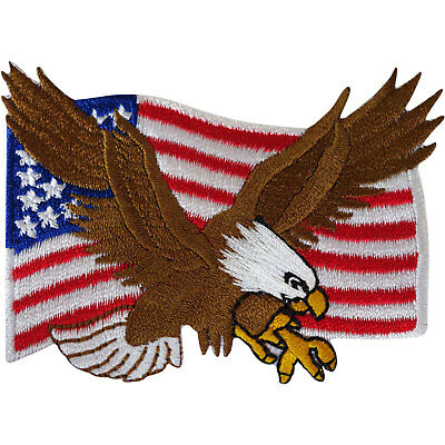 USA Flag Patch Iron Sew On American United States Of America Eagle Biker Badge • 2.79£