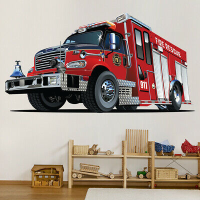 £16.79 • Buy Red Fire Engine Truck Wall Decal Sticker WS-41196