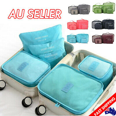 AU11.75 • Buy 6PCS Travel Luggage Organiser Cube Clothes Storage Pouch Suitcase Packing Bags