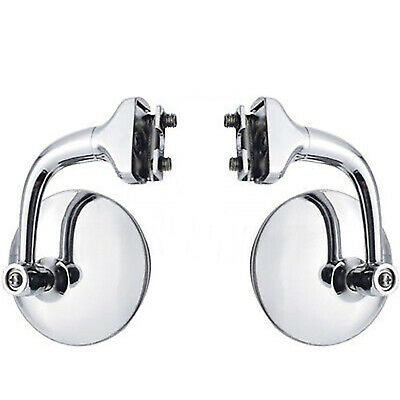 $29.95 • Buy 3  Chrome Curved Arm Peep Side Door Glass Mirror Outside Rear View Hot Rod Pair