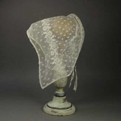Early 19th Century Regency Lace Cap Bonnet Embroidered Net Ground English 1820 • 145£