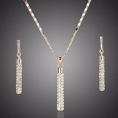 £19.12 • Buy Made With Swarovski Crystal Drop Pendant Chain Necklace Earrings Jewellery Set