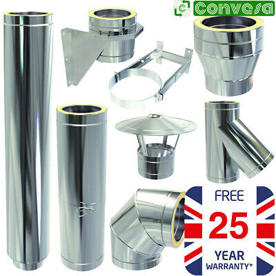 Twin Wall Flue Stove Kit Convesa Stainless Steel Pipe Bends Tees 5inch 125mm • 19.71£