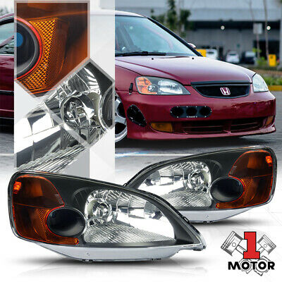 $72.89 • Buy Black Housing Headlight Amber Corner Turn Signal Reflector For 01-03 Honda Civic