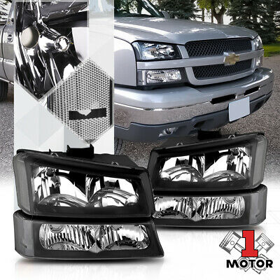 $75.89 • Buy Black Housing Headlight Clear Signal+Bumper For 03-07 Chevy Silverado/Avalanche